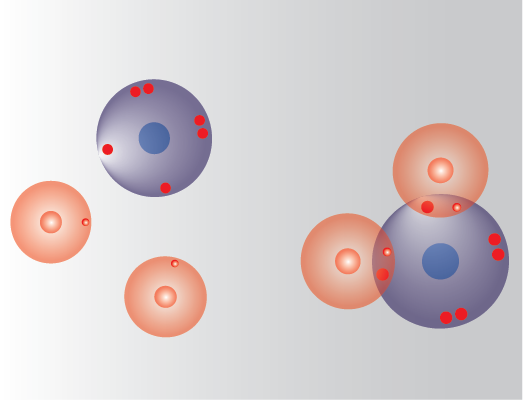 separate hydrogen and oxygen atoms make water